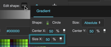The Radial Gradient Size X property